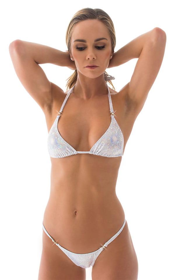 Brazilian Pucker Butt Bikini in Holographic White Silver 4