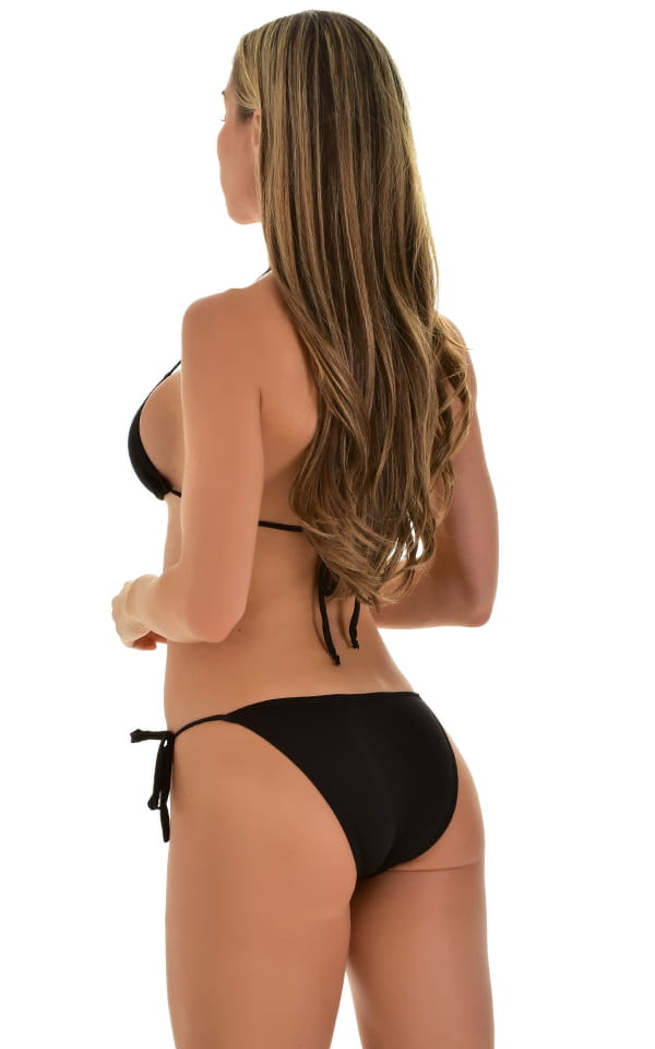 Low Rise Side Tie Brazilian Bikini Bottom in Super ThinSKINZ Black 3