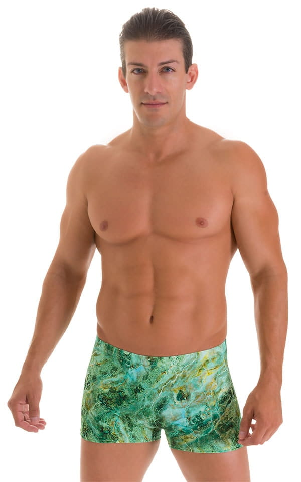 Square Cut Seamless Swim Trunks in Jade Marble 1