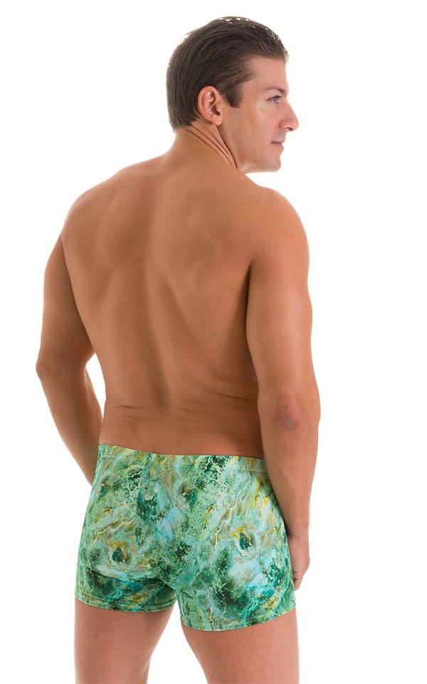 Square Cut Seamless Swim Trunks in Jade Marble 3