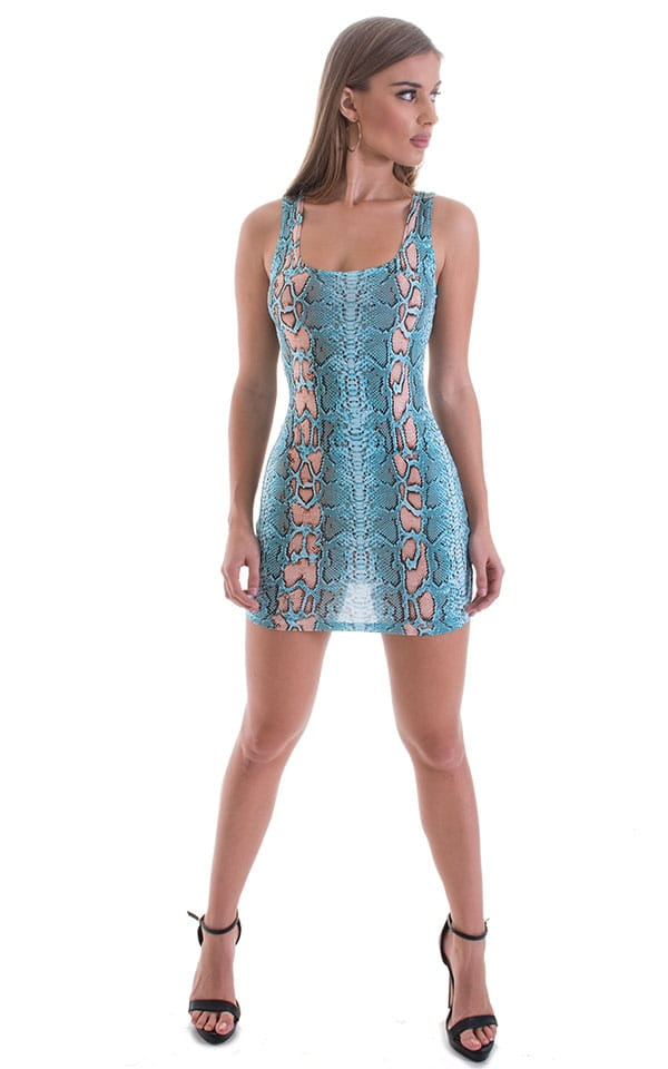 Micro Mini Dress in ThinSKINZ Aqua Python 4
