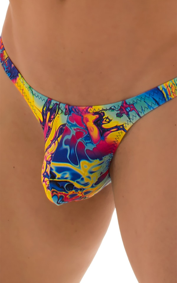 Stuffit Pouch Thong Back Swimsuit in Mind Vision Rainbow 4
