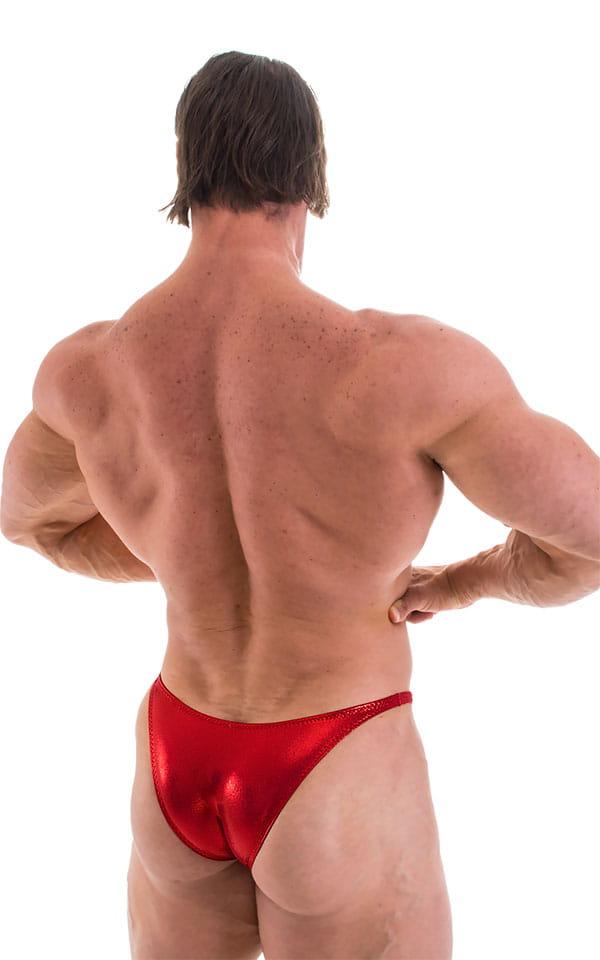 Bodybuilder Posing Suit - Narrow Back in Metallic Volcano Red 3