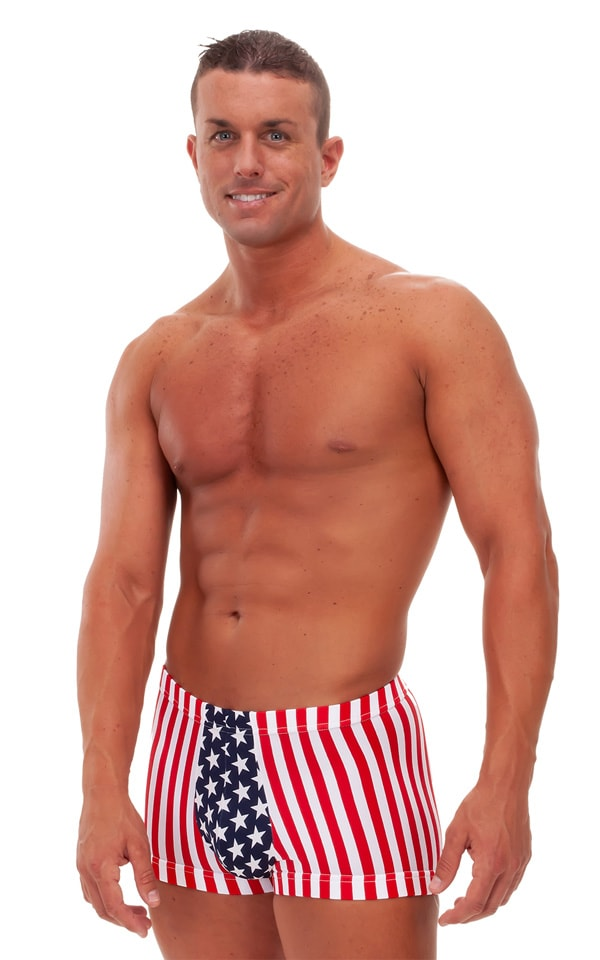 Fitted Pouch - Square Cut - Watersports Swim Trunks in Stars & Stripes 1
