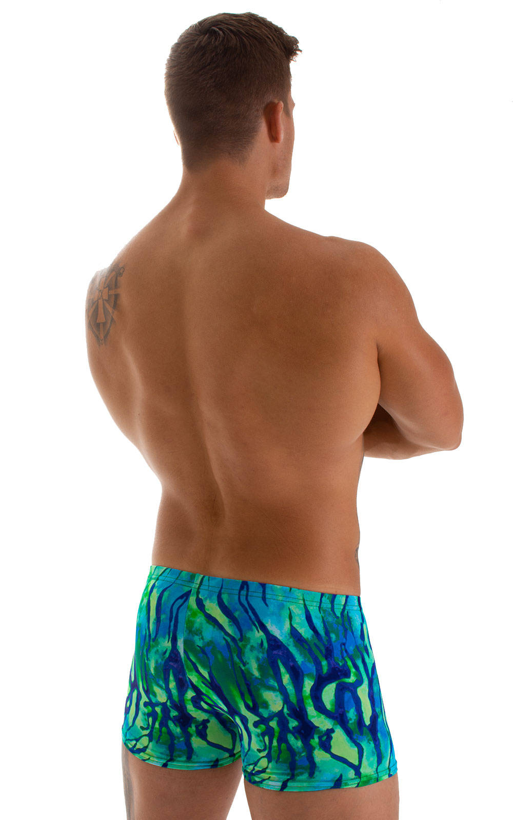 Square Cut Seamless Swim Trunks in Beach Tiger Blue-Green 2