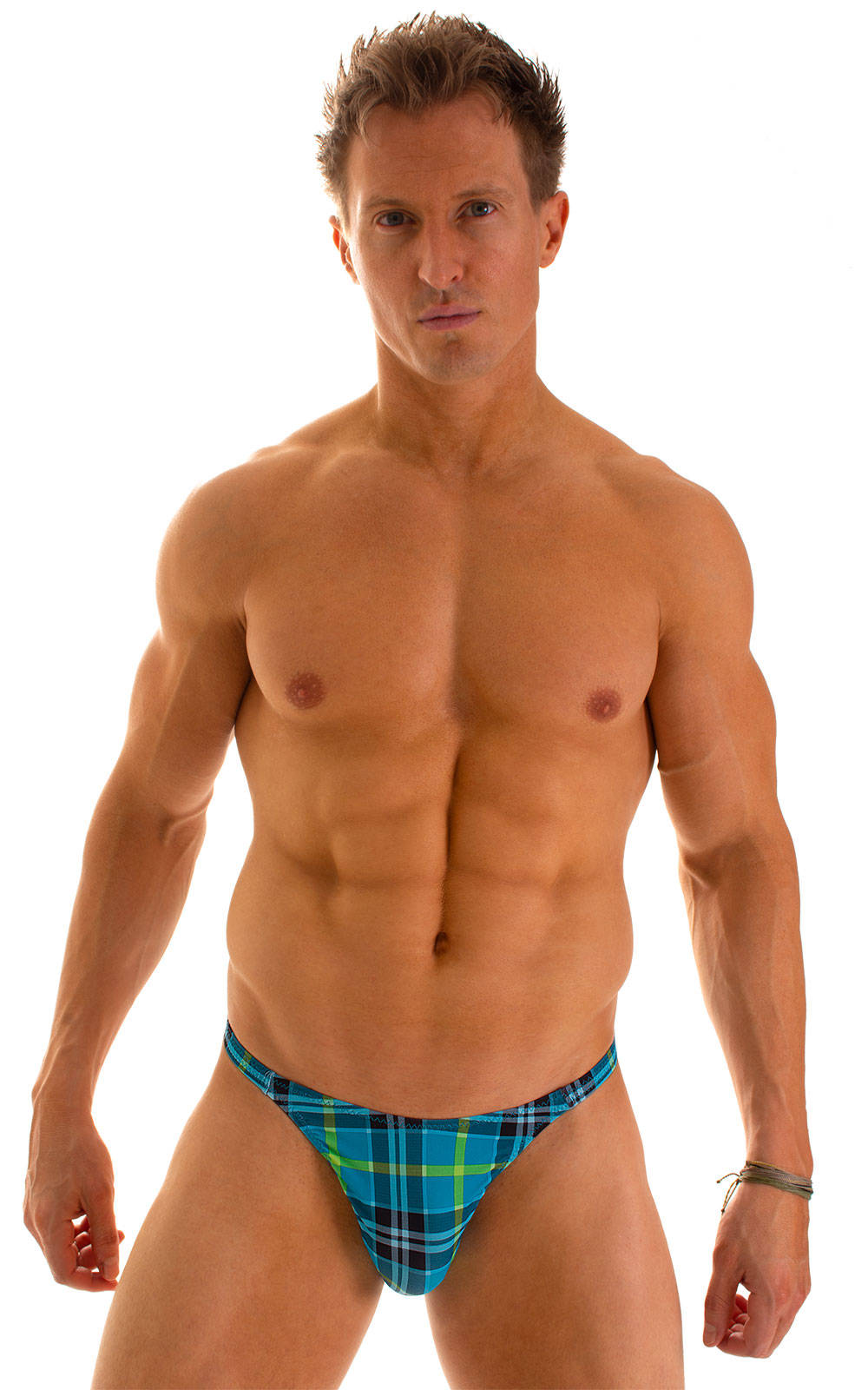 Smooth Front Bikini in Aqua Plaid 1