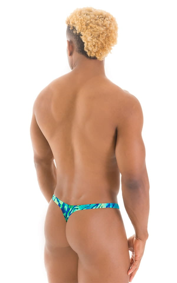 T Back Thong Swimsuit in Beach Tiger Blue-Green 3