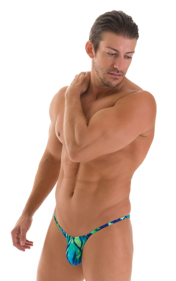 Stuffit Pouch Half Back Tanning Swimsuit in Beach Tiger Blue-Green 1