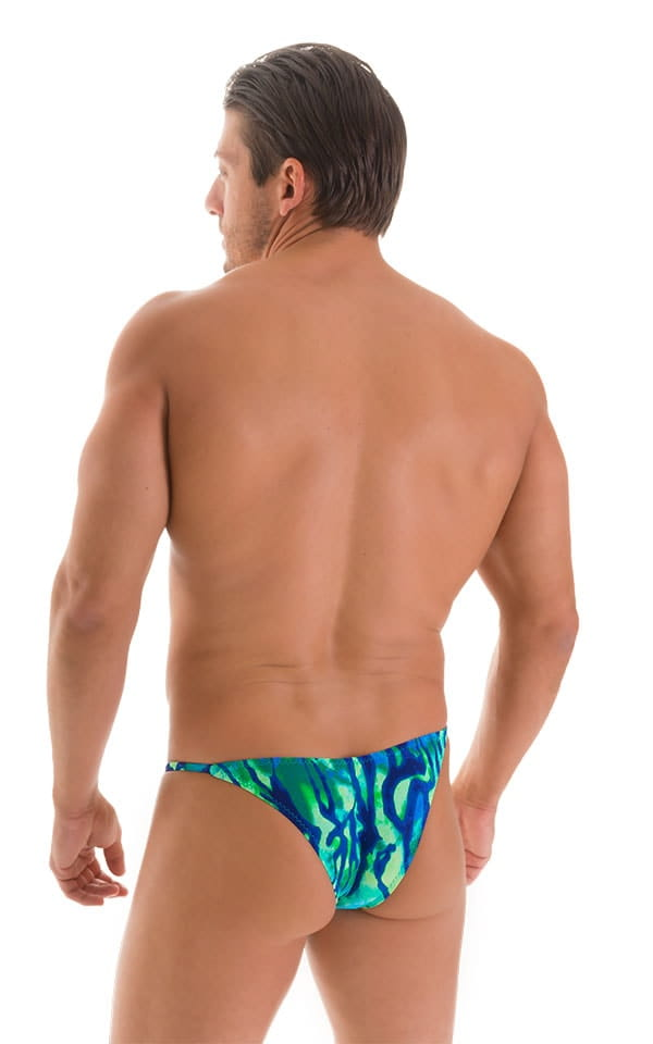 Stuffit Pouch Half Back Tanning Swimsuit in Beach Tiger Blue-Green 2