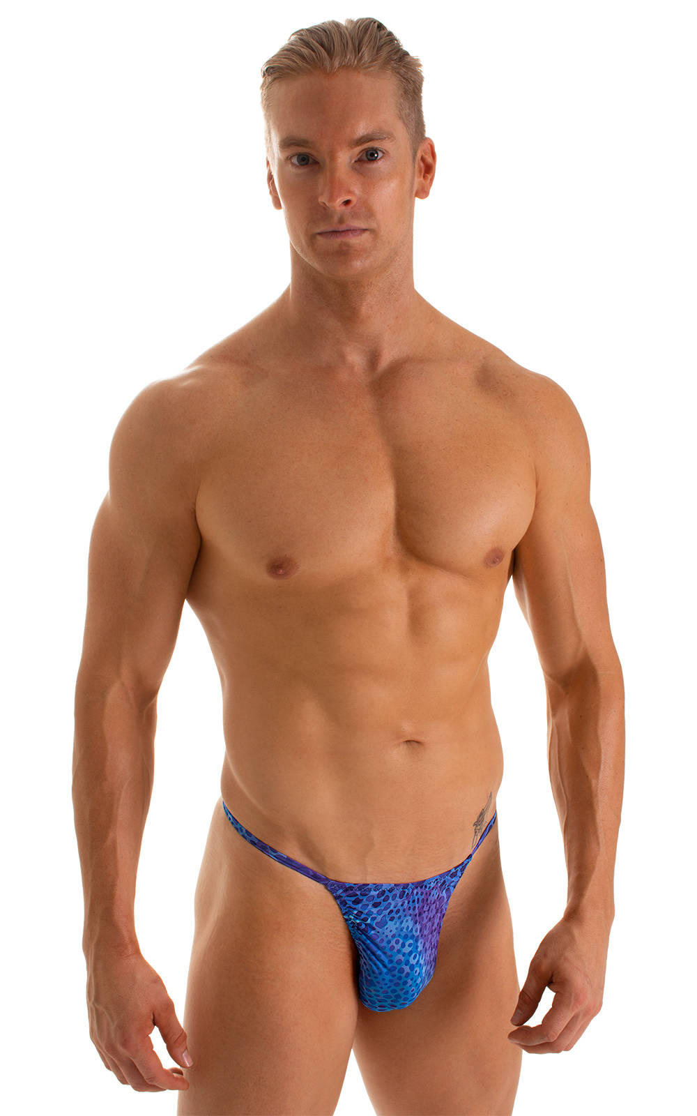 Smooth Pouch Skinny Sides Swim Thong in Super ThinSKINZ Deep Sea 1
