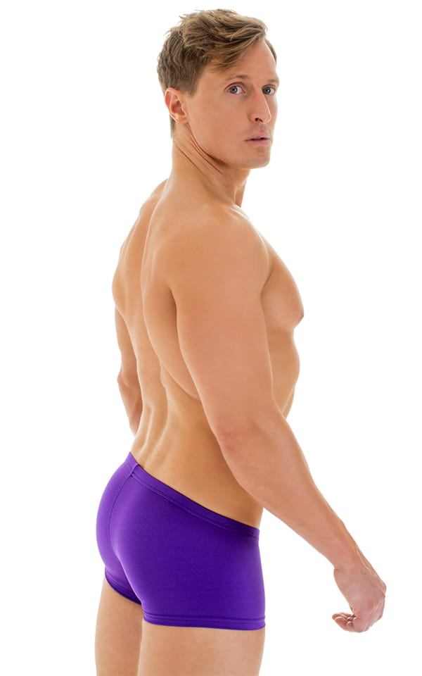 Extreme Low Square Cut Swim Trunks in Purple 3