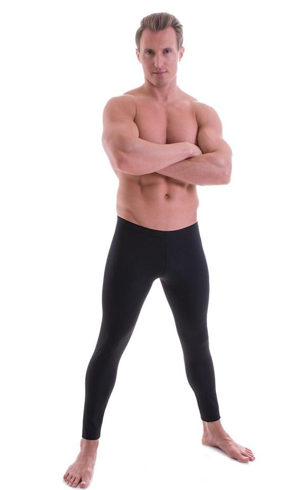 Mens Low Rise Leggings Tights in Black Cotton/Lycra 1