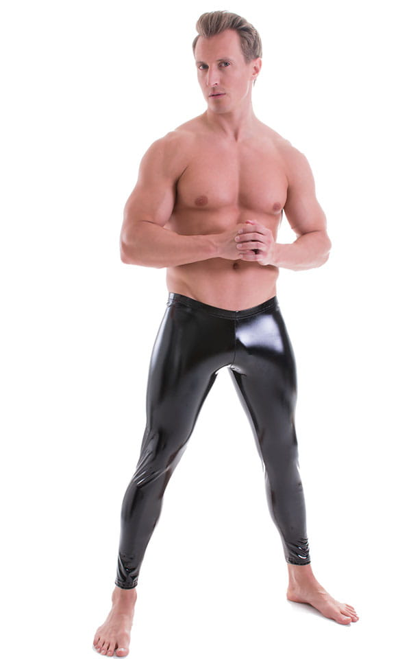 Mens Low Rise Leggings Tights in Gloss Black Stretch Vinyl 1