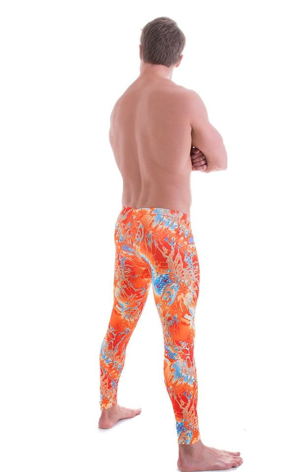Mens Low Rise Leggings Tights in Vapor Wave Orange 3