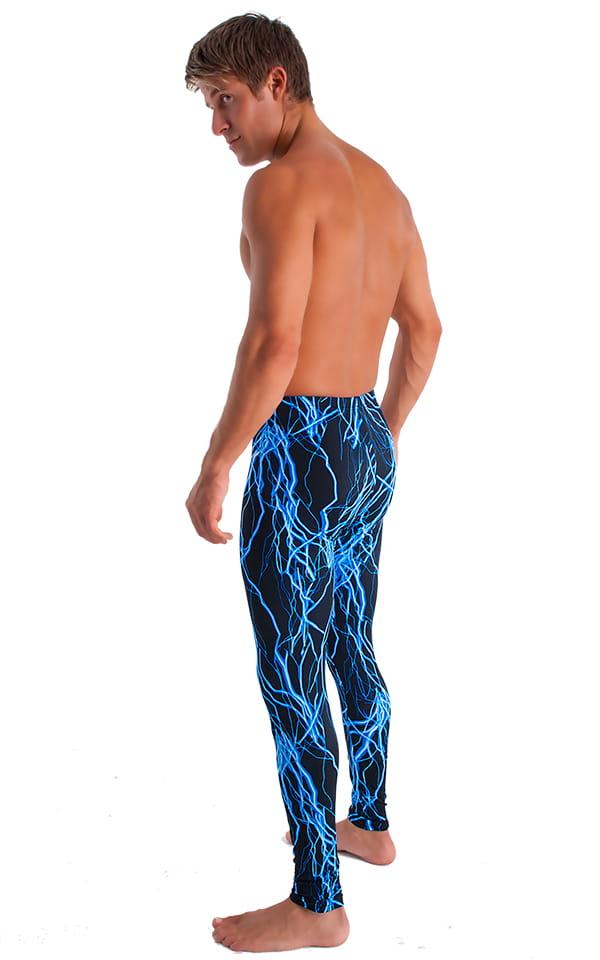 Bike Tights (with Bike Pad) in Blue Lightning on Black Tricot nylon/lycra 3