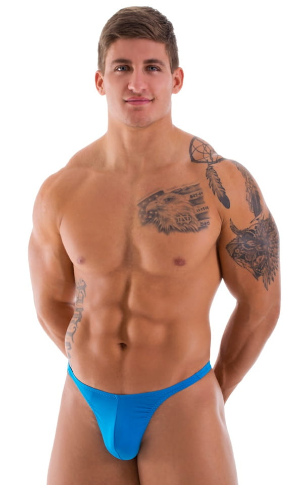 mens semi sheer blue thong