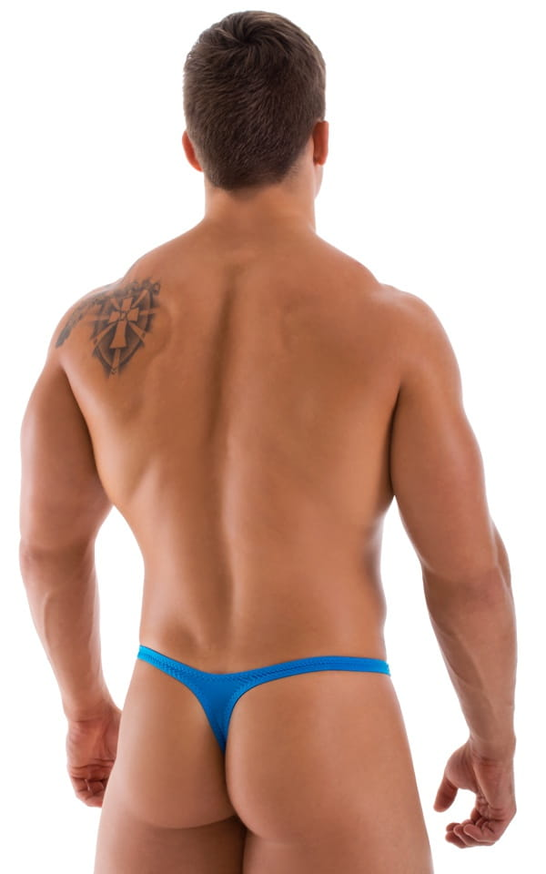 mens semi sheer blue thong rear
