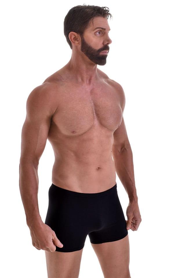 Seamless Square Cut Underwear Gym Shorts in Black Heavy-Cotton-Lycra 1