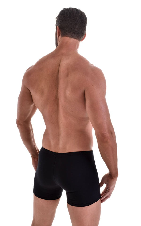 Seamless Square Cut Underwear Gym Shorts in Black Heavy-Cotton-Lycra 3