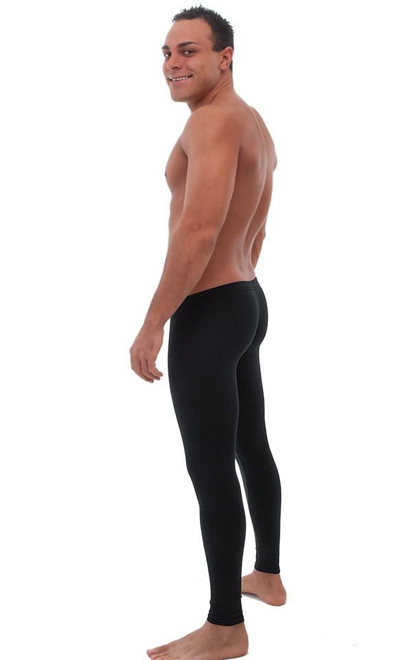 Mens SUPER Low Leggings Tights in Black cotton/lycra 3