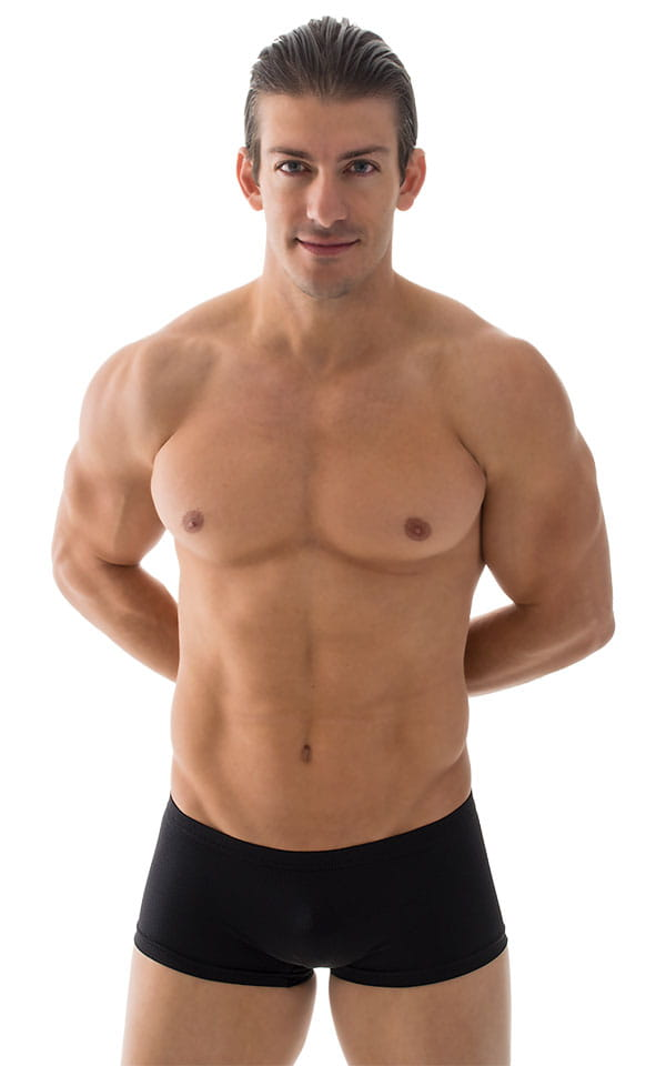 Extreme Low Square Cut Swim Trunks in Black 4