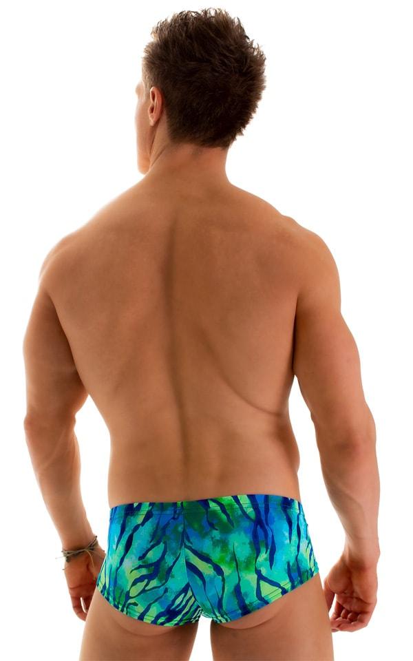 Pouch Enhanced Micro Square Cut Swim Trunks in Beach Tiger Blue-Green 2