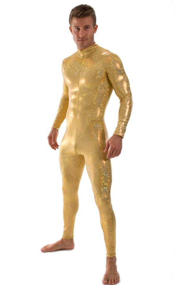 Full Bodysuit Suit for men in Gold Holographic Shattered Glass 1