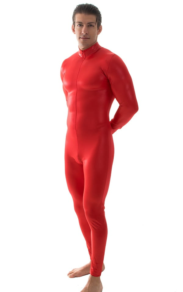 Full Bodysuit Suit for men in Wet Look Red 4