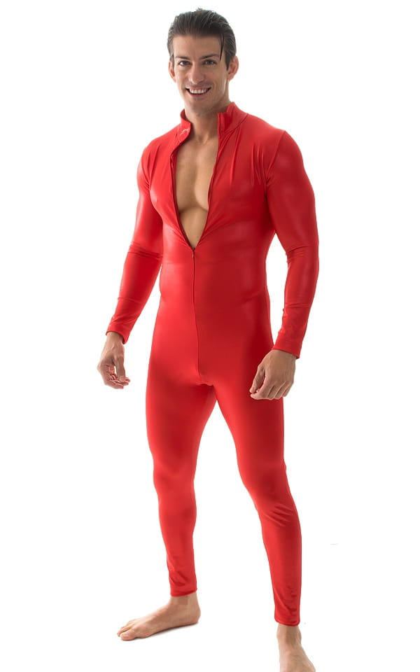Full Bodysuit Suit for men in Wet Look Red 5