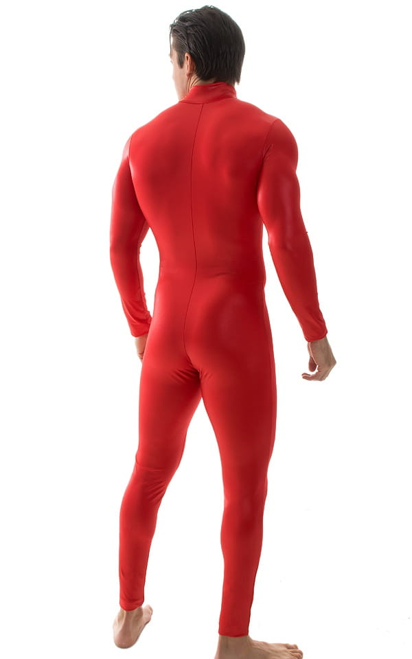 Full Bodysuit Suit for men in Wet Look Red 3