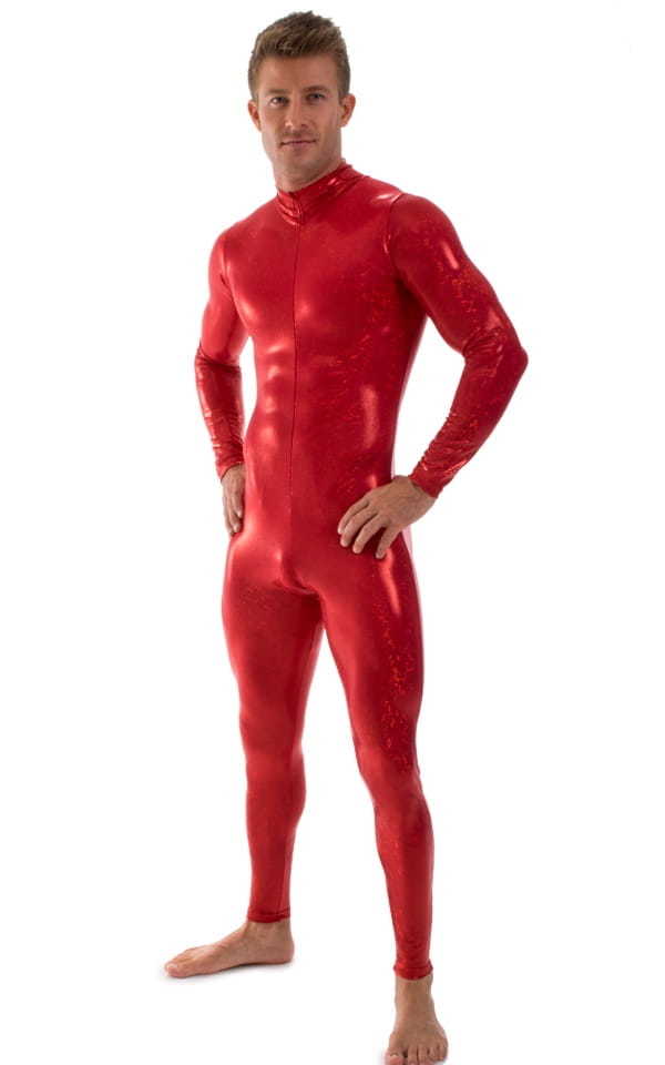 Full Bodysuit Suit for men in Red Holographic Shattered Glass 1