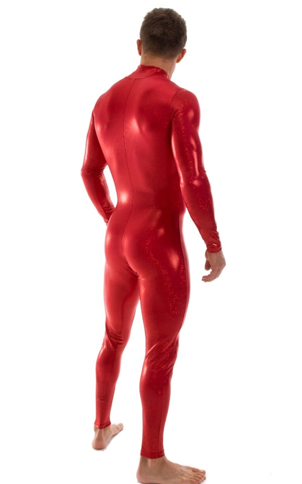 Full Bodysuit Suit for men in Red Holographic Shattered Glass 4