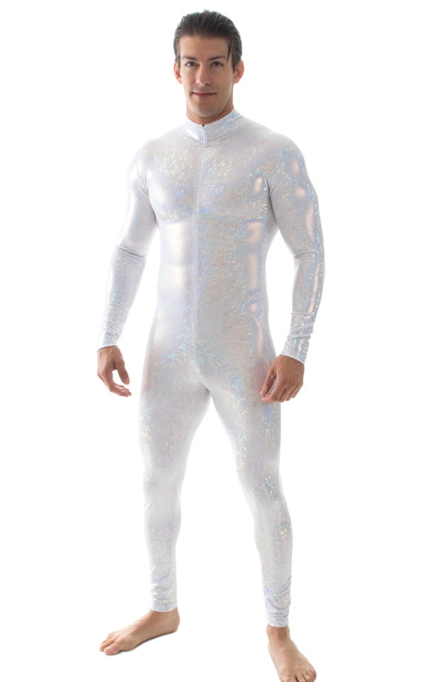 Full Bodysuit Suit for men in Holographic Shattered Glass White Silver 5