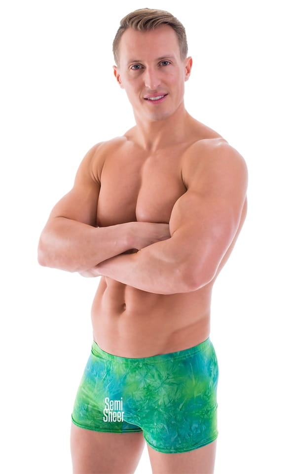 0822d61332 Square Cut Seamless Swim Trunks in ThinSKINZ Semi Sheer Greenjeans ...