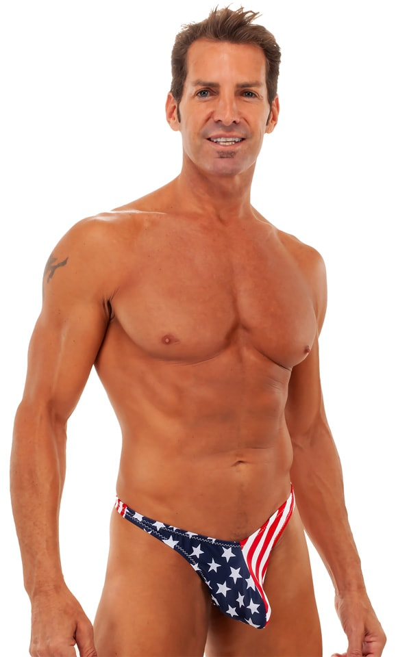 Pouch Enhanced Pistol Pete Thong in Stars & Stripes 1