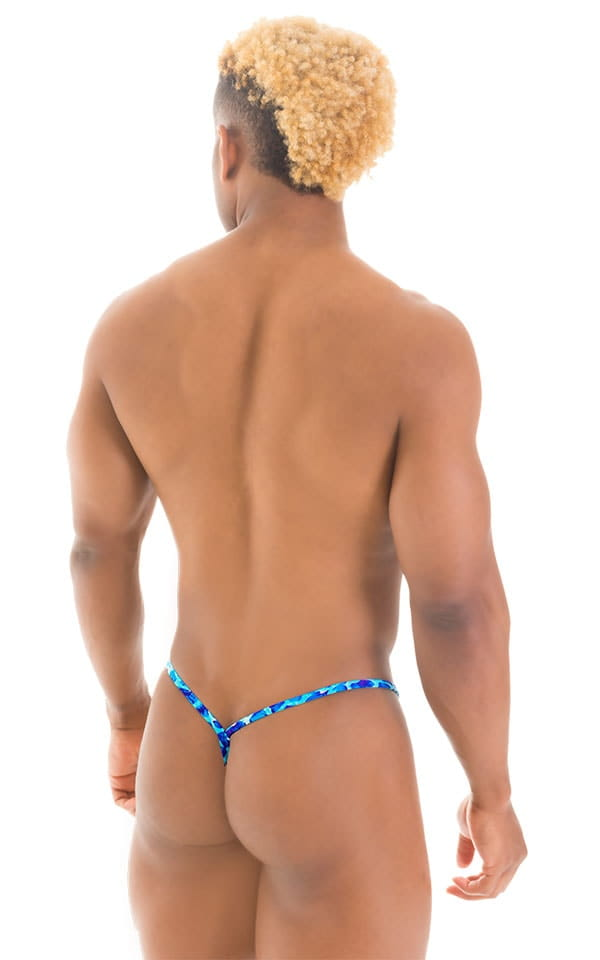 Y Back G String Thong in New World Blue - PEP Lining 2
