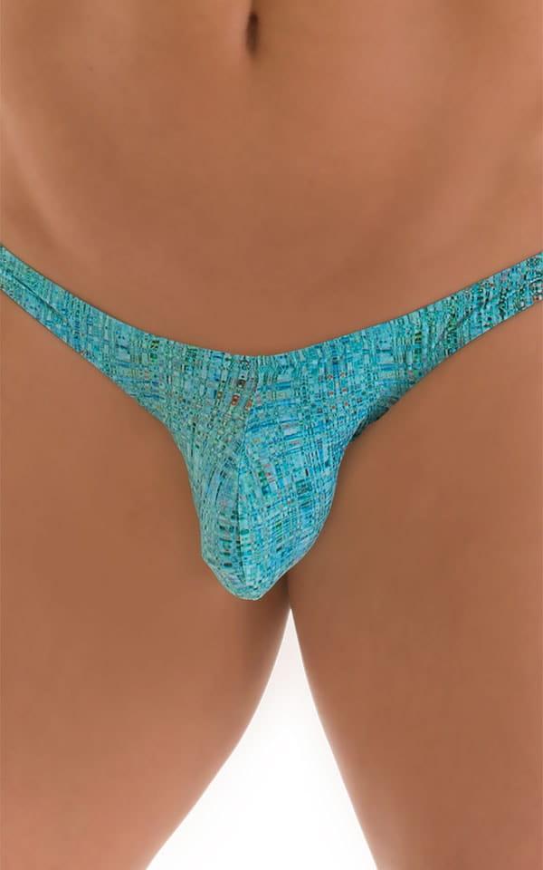 Tanga Cheekini Bikini in Super ThinSKINZ Seafoam Circuits 3