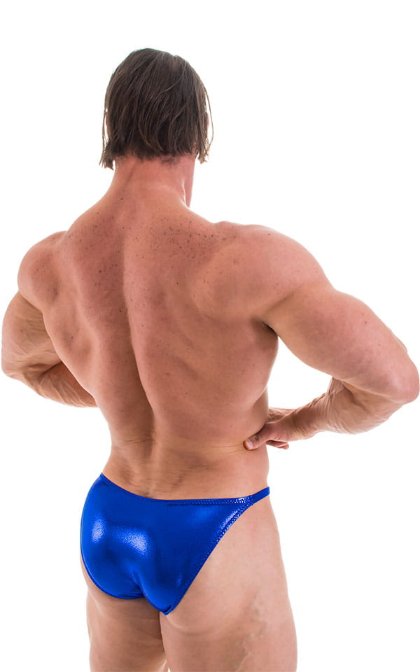 Posing Suit - Competition Bikini Cut in Metallic Royal Blue 3