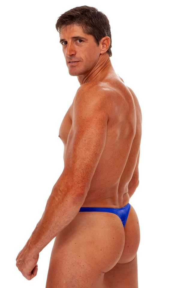 Swimsuit Thong in Wet Look Royal Blue 3