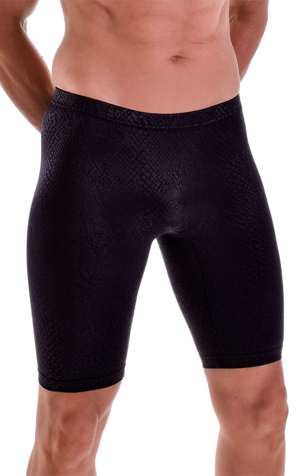 Lycra Bike Length Shorts in Semi Sheer Black Snakeskin Stretch Lace 4