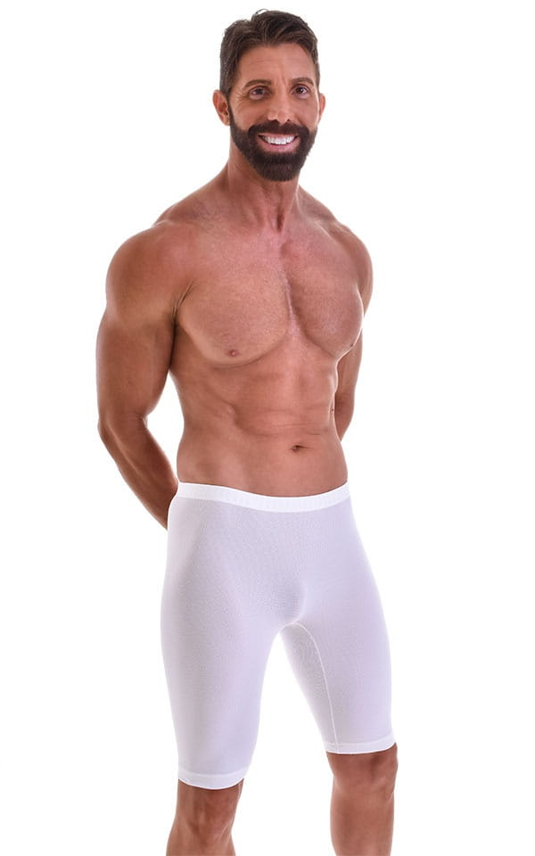 Lycra Bike Length Shorts in Semi Sheer White Powernet 1