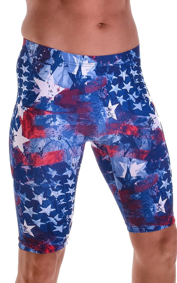 Lycra Bike Length Shorts in American Flag Collage 4