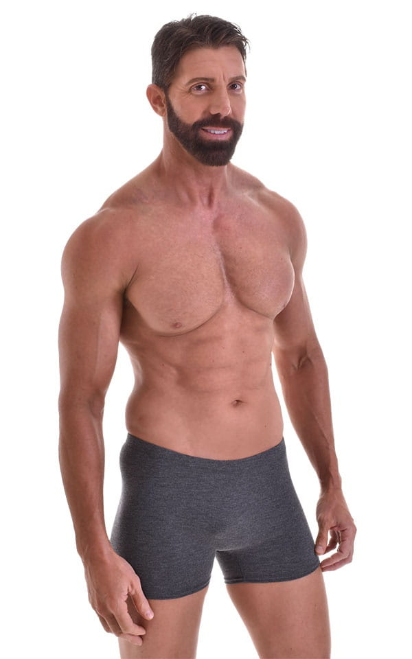Seamless Square Cut Underwear Gym Shorts in Charcoal Heavy-Poly-Cotton-Lycra 1