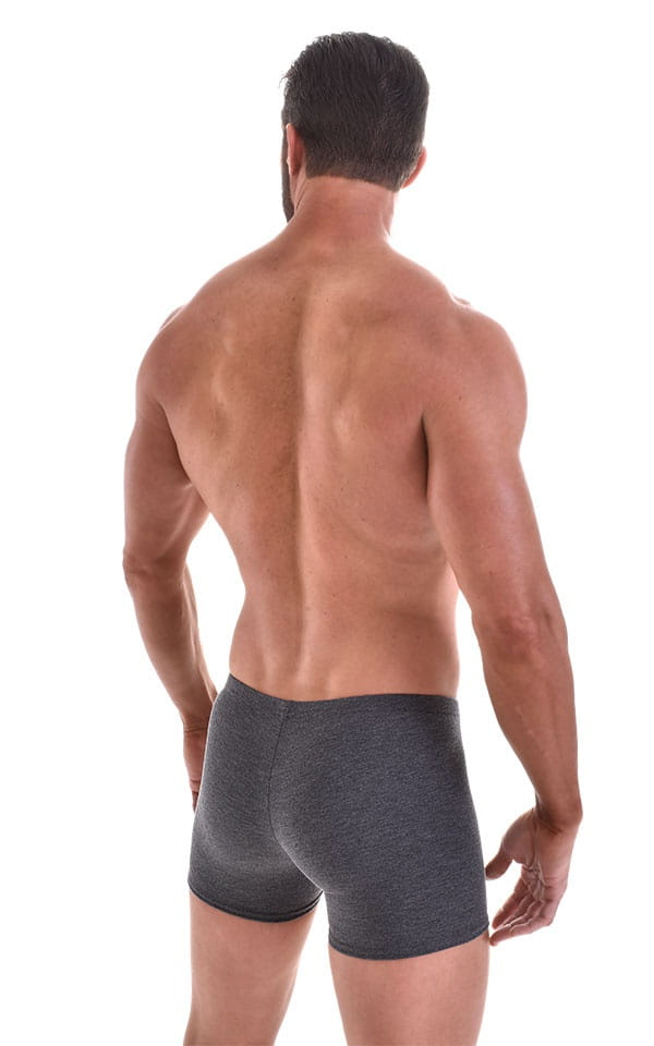 Seamless Square Cut Underwear Gym Shorts in Charcoal Heavy-Poly-Cotton-Lycra 3