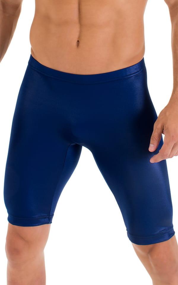Lycra Bike Length Shorts in Wet Look Midnight Blue 4