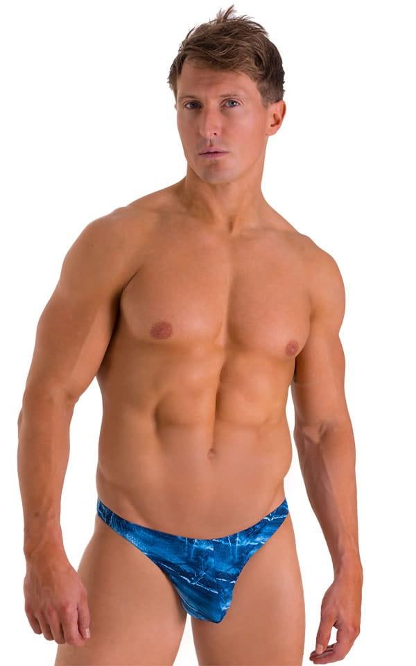 Enhancing Pouch Swim Brief in Super ThinSKINZ Denim Patches 1