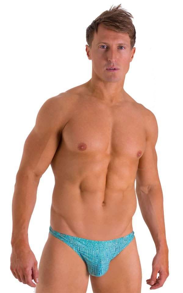 Enhancing Pouch Swim Brief in Super ThinSKINZ Seafoam Circuits 1