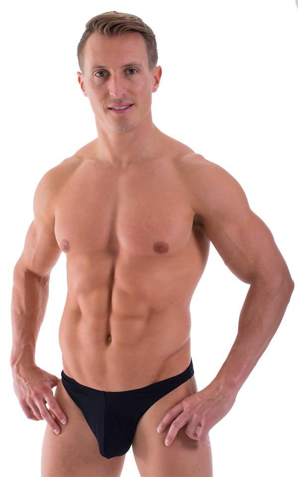 Large Pouch Swimsuit Bikini in Semi Sheer Black Powernet 1