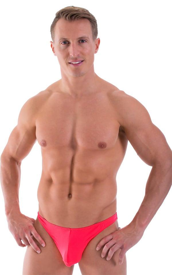 Comfort Pouch - Bulge Enhancing - Half Back Bikini in ThinSKINZ Semi Sheer Neon Coral 1