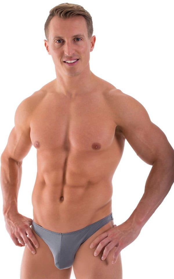 Comfort Pouch - Bulge Enhancing - Half Back Bikini in ThinSKINZ Metal Gray 1